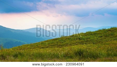Panorama Of The Valley Among Majestic Green Mountain Hills