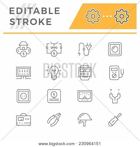 Set Line Icons Of Electricity Isolated On White. Editable Stroke. Vector Illustration