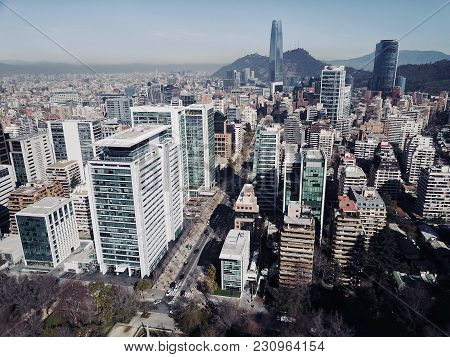 Santiago City From The Air Above The Business District
