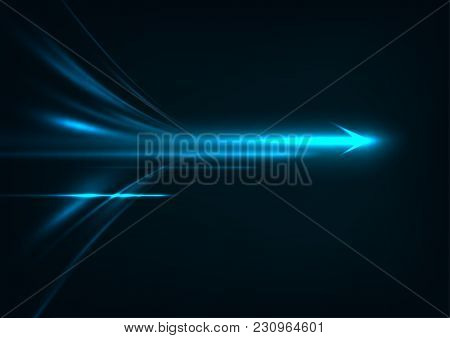 Abstract Speed Technology Concept. With Light And Stripes Motion Blur Moving Fast Over Dark Backgrou