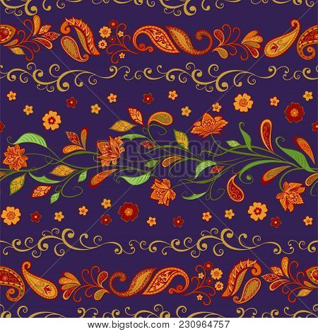 Abstract Vintage Pattern With Decorative Flowers, Leaves And Paisley Pattern In Oriental Style.