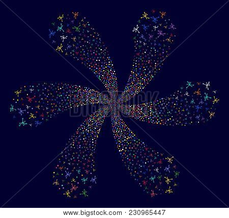 Colorful Big Bang cycle flower with six petals on a dark background. Suggestive centrifugal explosion created from scattered big bang items. poster
