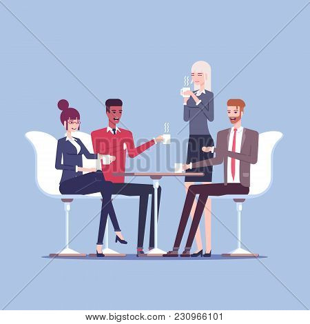 Businessmen And Businesswomen Having Coffee Break Vector Flat Illustration. Group Of Business People