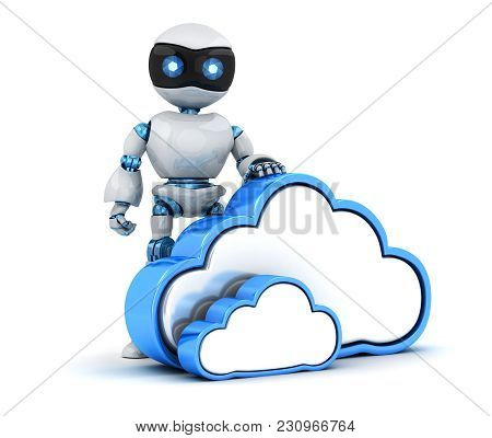 Robot And Abstract Cloud Storage. 3d Illustration