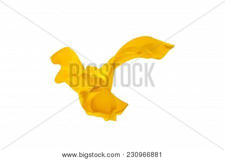 Smooth Elegant Transparent Yellow Cloth Isolated Or Separated On White Studio Background. Texture Of