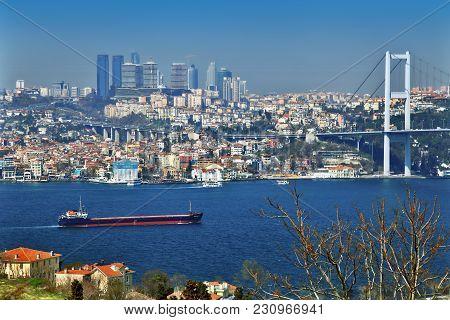 Istanbul, Turkey - March 24, 2012: Bridge Over The Bosphorus.