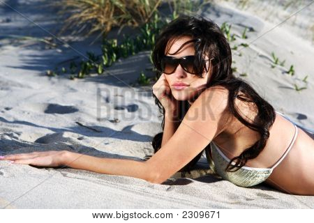 Beautiful Model On The Beach