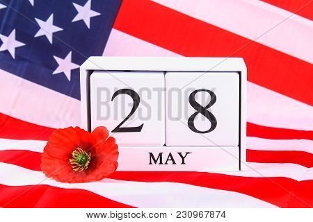 Usa Memorial Day Concept With Calendar And Red Remembrance Poppy On American Stars And Stripes Flag