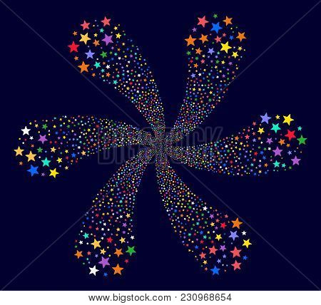 Bright Fireworks Star Twirl Abstract Flower On A Dark Background. Psychedelic Cycle Composed From Ra