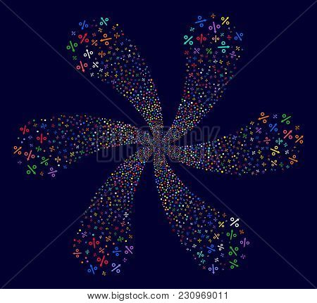 Bright Growing Percent Exploding Flower Shape On A Dark Background. Hypnotic Spiral Done From Random
