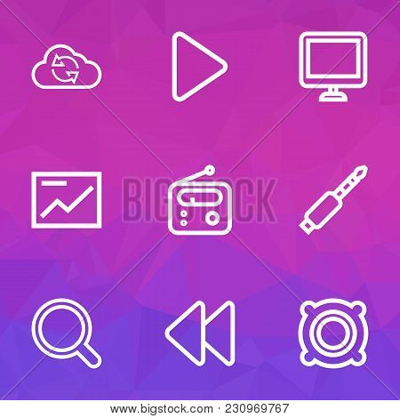 Multimedia Icons Line Style Set With Display, Rewind, Speaker And Other Backward Elements. Isolated