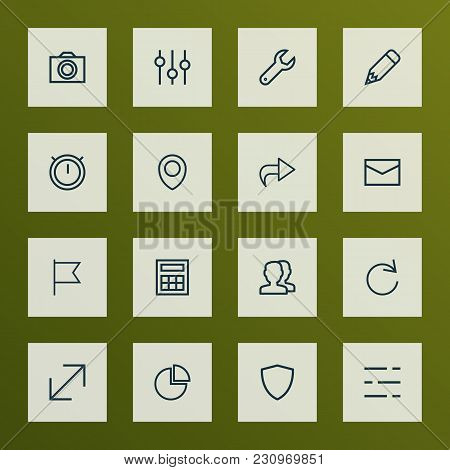 User Icons Line Style Set With Equalizer, Pencil, Shield And Other Camera Elements. Isolated Vector