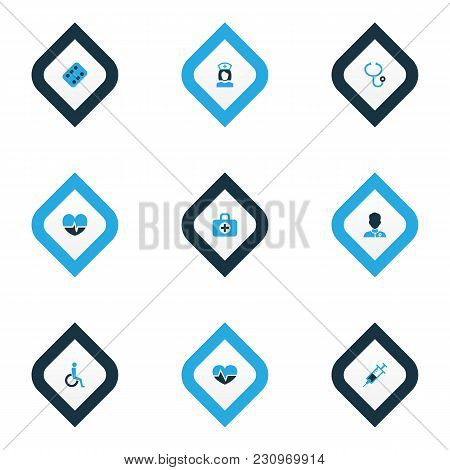 Drug Icons Colored Set With Heartbeat, Medicament, Syringe And Other Heartbeat  Elements. Isolated V