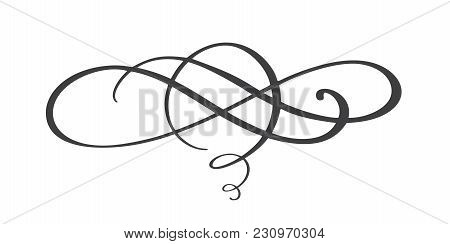 Vintage Hand Drawn Flourish Separator Calligraphy Elements Symbol Linked, Join, Passion And Wedding.
