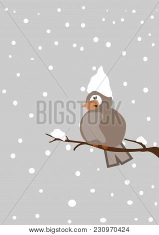 Depressive Bird On A Twig With Snowfall, Seasonal Vector Cartoon Illustration