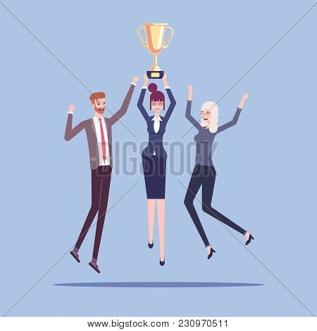Group Of Male And Female Office Workers Or Businessmen Celebrating A Victory And Jump With A Golden