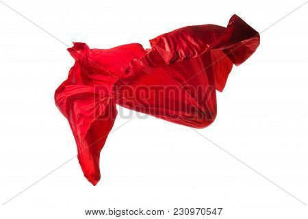Smooth Elegant Transparent Red Cloth Isolated Or Separated On White Studio Background. Texture Of Fl