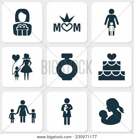 Mothers Day Icon Design Concept. Set Of 9 Such Elements As Lady, Cake And Family. Beautiful Symbols