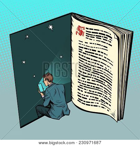 E-book, A Man Reads Online Text. Pop Art Retro Vector Illustration Comic Cartoon Vintage Kitsch Draw