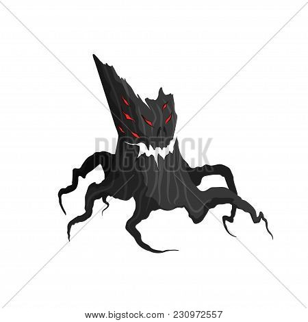 Horror Tree On A White Background. Evil Monster.mystery Character Of Helloween. Game Asset. Magic Sp