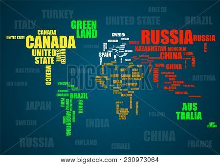Typography Colorful World Map Made Of Names Countries. Vector