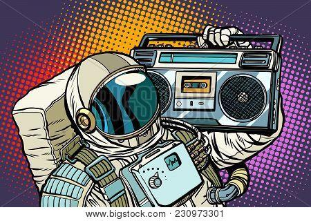 Astronaut With Boombox, Audio And Music. Pop Art Retro Vector Illustration Comic Cartoon Vintage Kit