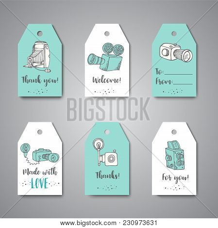 Tags For Photo Studio Or Photographer. Hand Drawn Doodle Cartoon Retro Photo Cameras, Vector Illustr