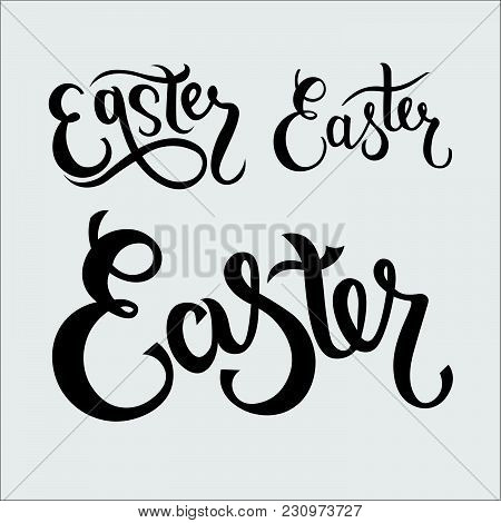 Hand Sketched Easter Text Set As Pascha Logotype, Badge And Icon. Drawn Resurrection Sunday Postcard