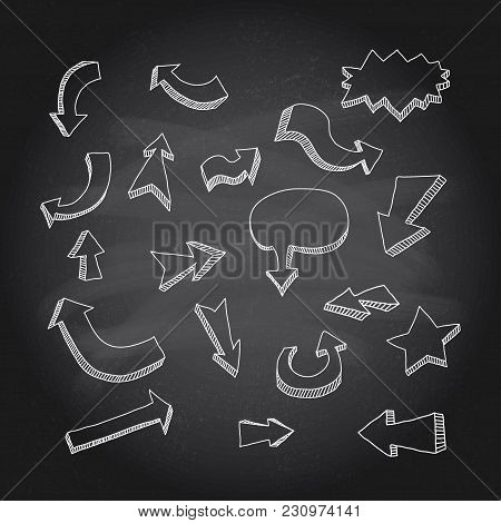 Hand Drawn Arrows Icons Set On Chalkboard. Vector Illustration