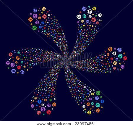 Attractive Money Award Rotation Flower Shape On A Dark Background. Psychedelic Cluster Organized Fro