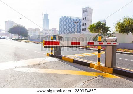 Closed Automatic Barrier On The Road Close-up
