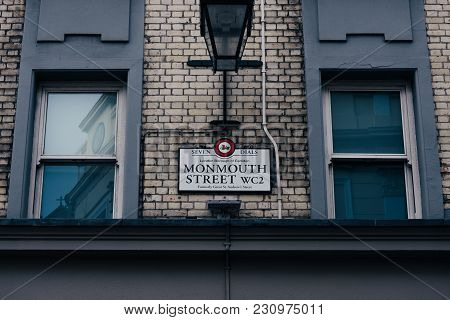 London, Uk - March 10, 2018: Monmouth Street Name Sign On A Brick Wall Building In Covent Garden, Lo