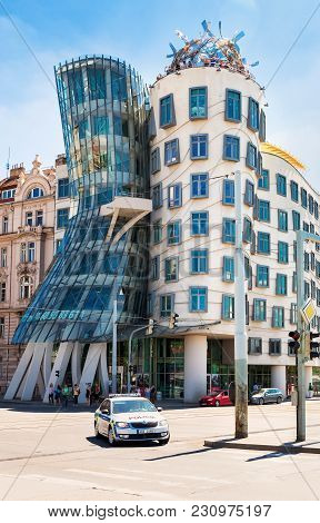 Prague, Czech Republic - May 27, 2017: Nationale - Nederlanden Building Also Known As The Dancing Ho