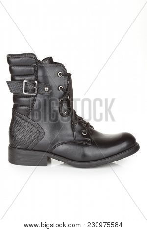 Black ankle boots isolated on white