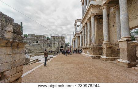 Merida - Mar 22: Unidentified Tourists Visit The Impressive Roman Theater In Merida On March 22, 201