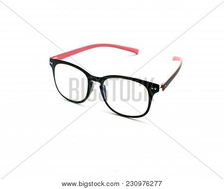 Black And Pink Color Glasses Isolated On White Background.