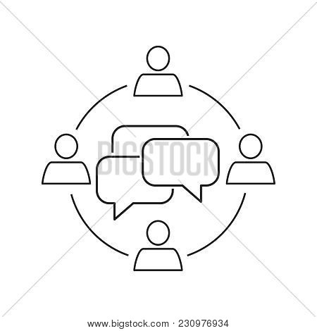 Communication Outline Icon On The White Background