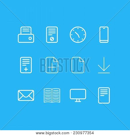 Illustration Of 12 Office Icons Line Style. Editable Set Of Table Lamp, Pen, List And Other Icon Ele