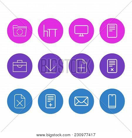 Illustration Of 12 Workplace Icons Line Style. Editable Set Of Pin, Remove, Portfolio And Other Icon
