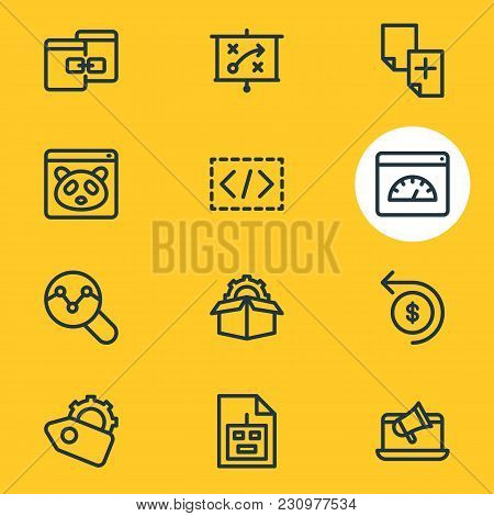 Illustration Of 12 Advertisement Icons Line Style. Editable Set Of Press Release, Game Developing, T