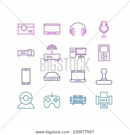 Illustration Of 16 Gadget Icons Line Style. Editable Set Of Headphones, Printer, Hard Drive And Othe
