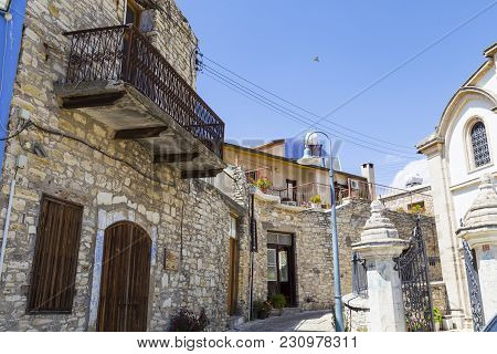 Old Mountain Village Of Pano Lefkara. Cyprus. Winding Street With Ancient Stone Houses, The Architec