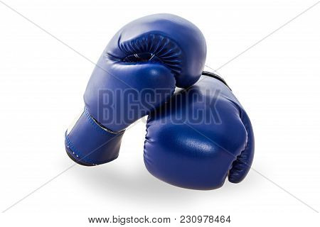 Blue Mitt Or Boxing Glove Isolated On White Background With Clipping Path. Boxing Glove Usually Used