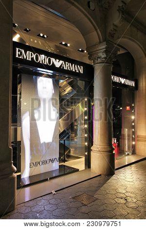 Barcelona, Spain - November 5, 2012: Emporio Armani Fashion Store In Barcelona, Spain. Giorgio Arman