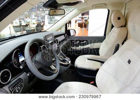 Dubai, Uae - November 18: The Mercedes-benz Brabus V-class Van Interior Is On Dubai Motor Show 2017