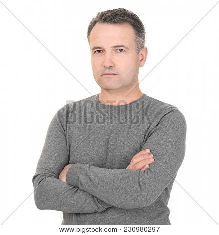 Portrait of male pensioner on white background