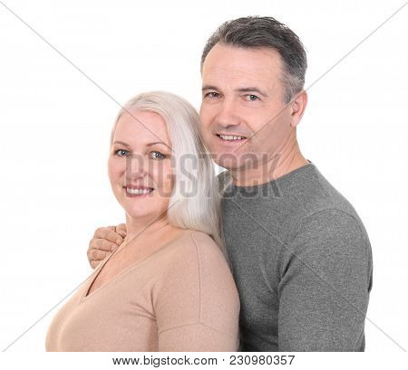 Portrait of happy pensioners on white background