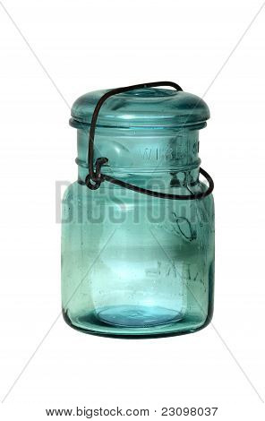 Antique Blue Canning Jar With Wire Secured Glass Top