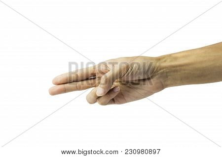 Hand Making A Gun Gesture Isolated On White Background With Clipping Path.