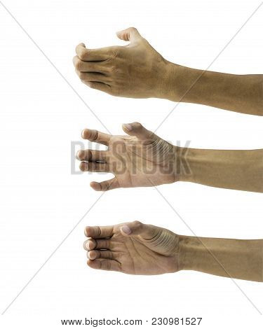 Man Hand Holding Something Empty Isolated On White Background With Clipping Path. Hand Hold Somethin